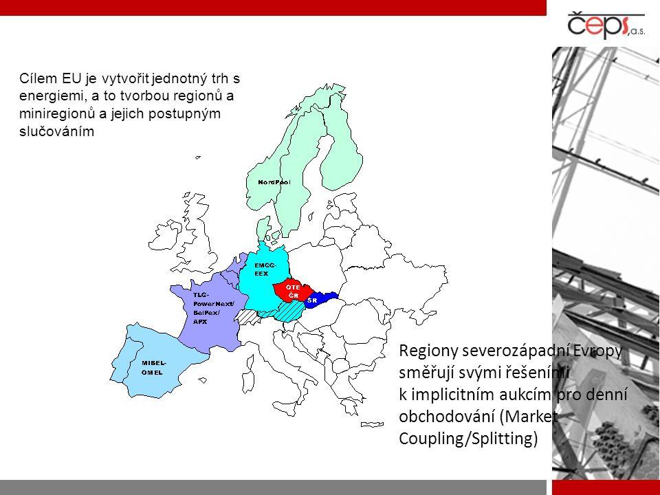 Cílem EU je vytvořit jednotný trh s energiemi, a to tvorbou regionů a miniregionů a jejich postupným slučováním