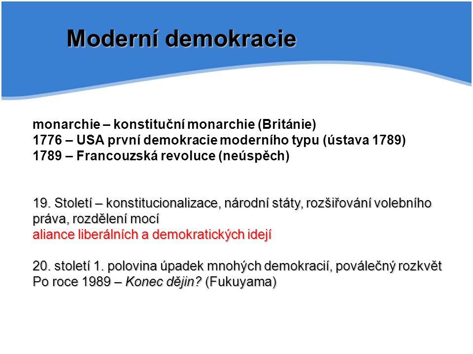 Moderní demokracie monarchie – konstituční monarchie (Británie)