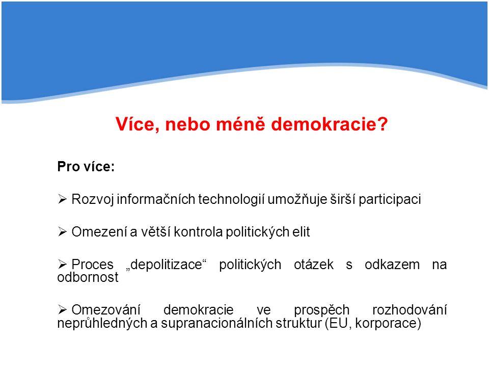 Více, nebo méně demokracie
