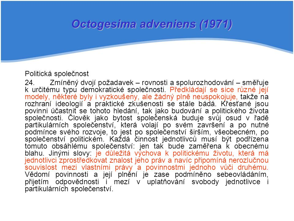 Octogesima adveniens (1971)