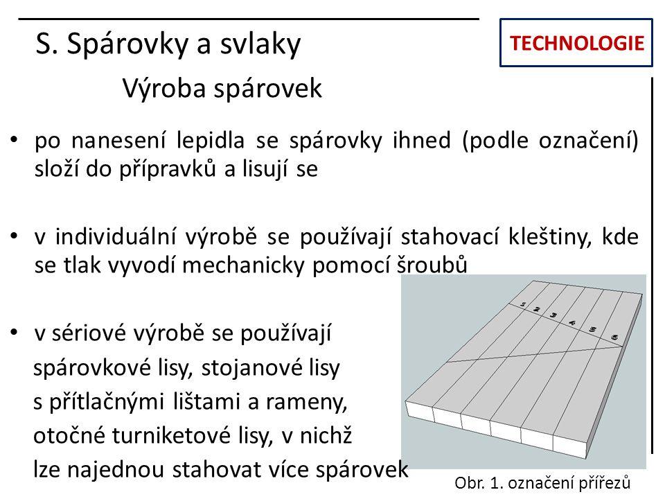 S. Spárovky a svlaky Výroba spárovek
