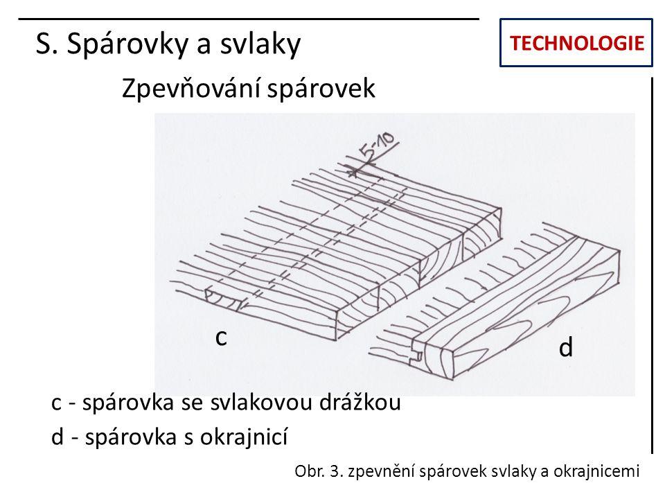 S. Spárovky a svlaky Zpevňování spárovek c d
