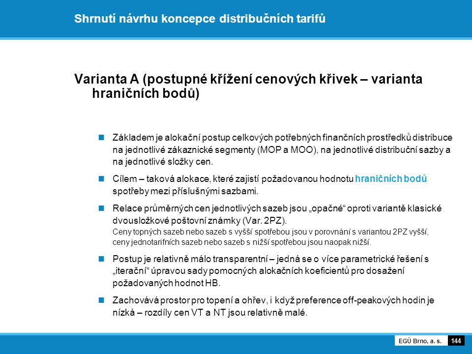 Shrnutí návrhu koncepce distribučních tarifů