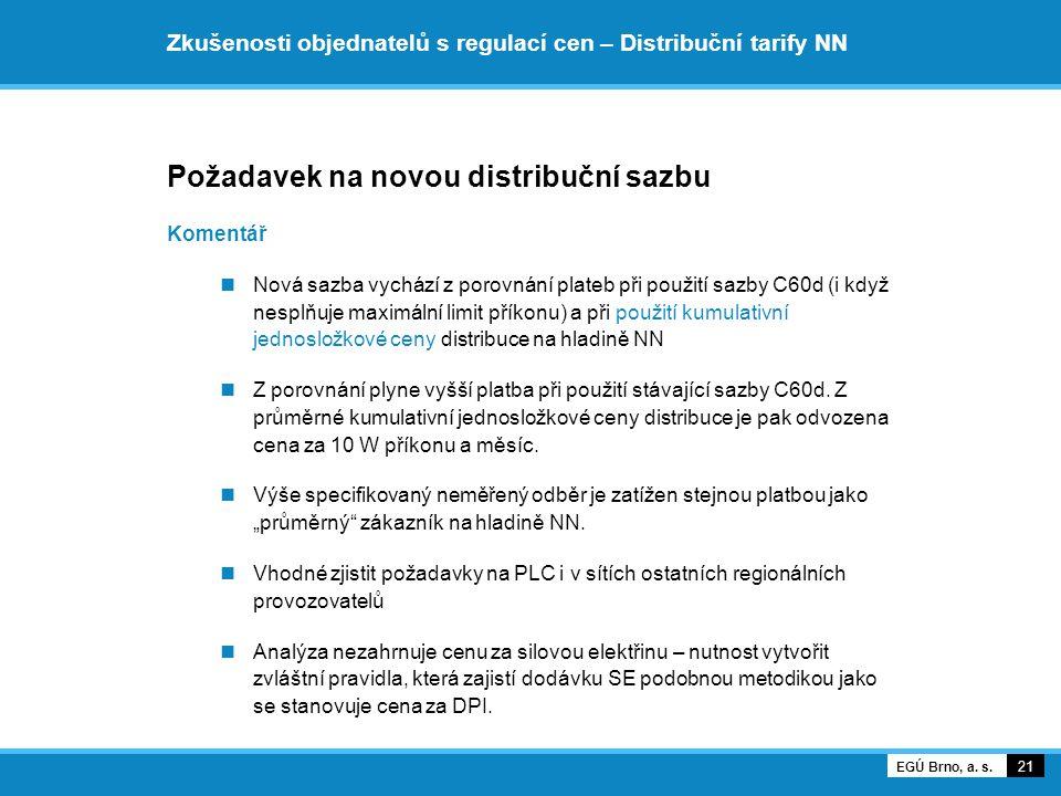 Zkušenosti objednatelů s regulací cen – Distribuční tarify NN