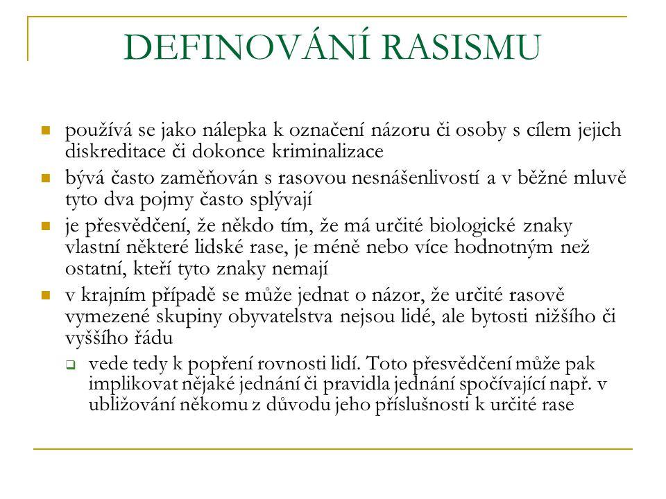 DEFINOVÁNÍ RASISMU používá se jako nálepka k označení názoru či osoby s cílem jejich diskreditace či dokonce kriminalizace.