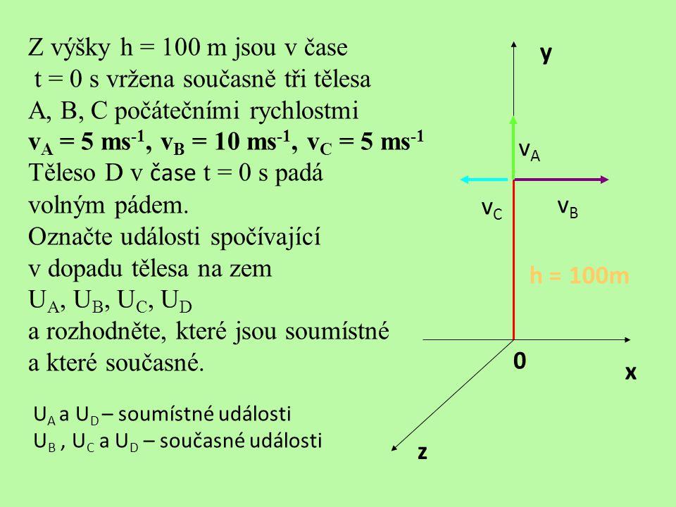 t = 0 s vržena současně tři tělesa A, B, C počátečními rychlostmi