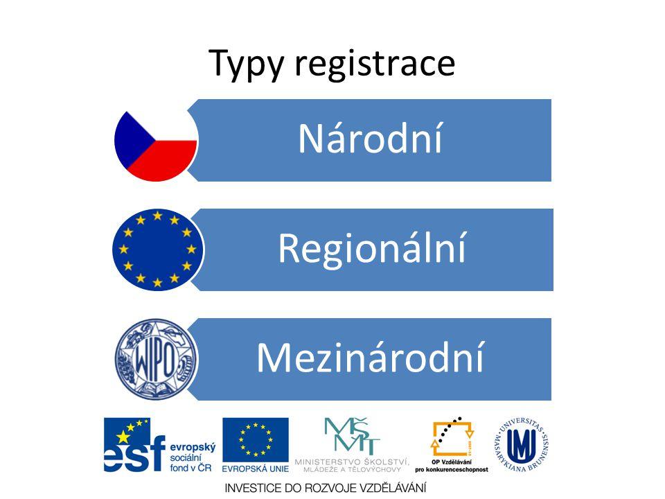 Typy registrace Národní Regionální Mezinárodní