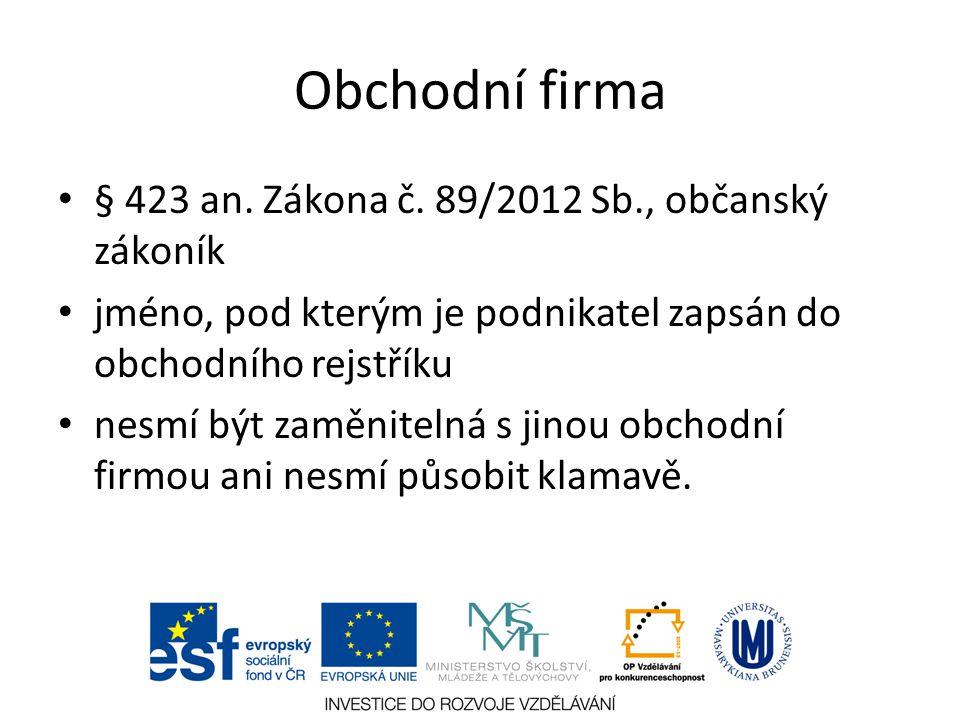 Obchodní firma § 423 an. Zákona č. 89/2012 Sb., občanský zákoník