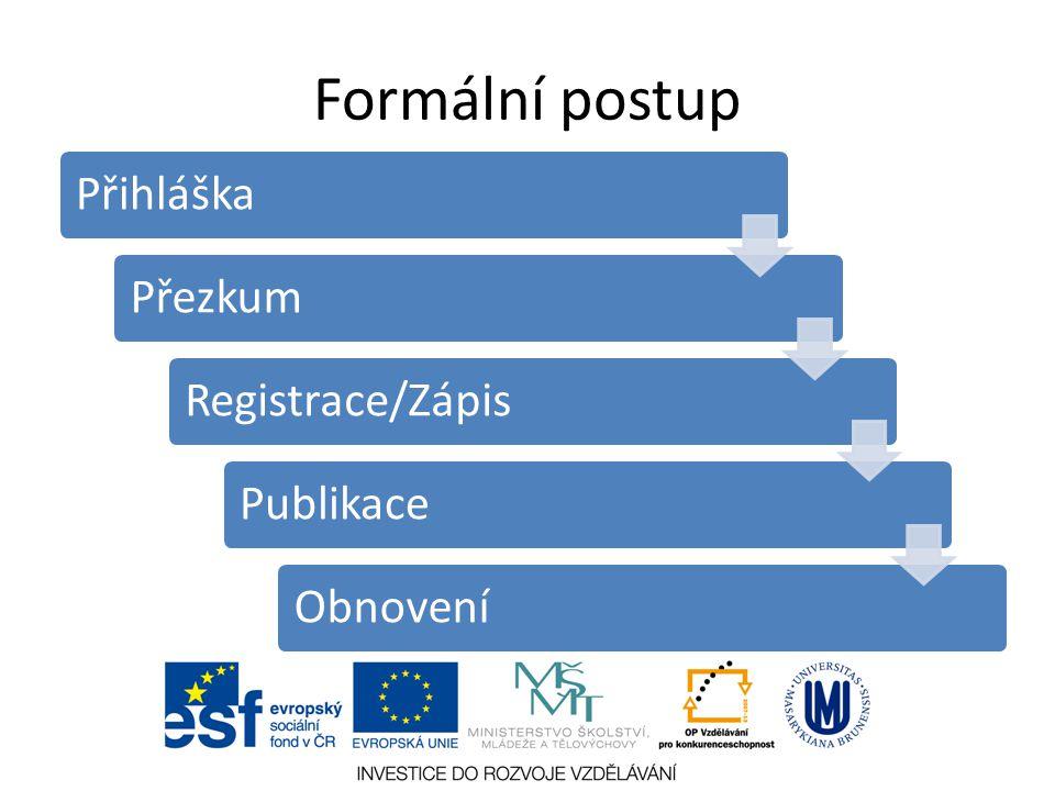 Formální postup Přihláška Přezkum Registrace/Zápis Publikace Obnovení