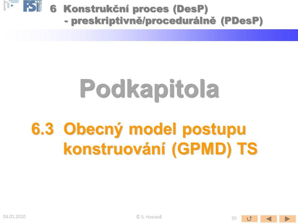Podkapitola 6.3 Obecný model postupu konstruování (GPMD) TS