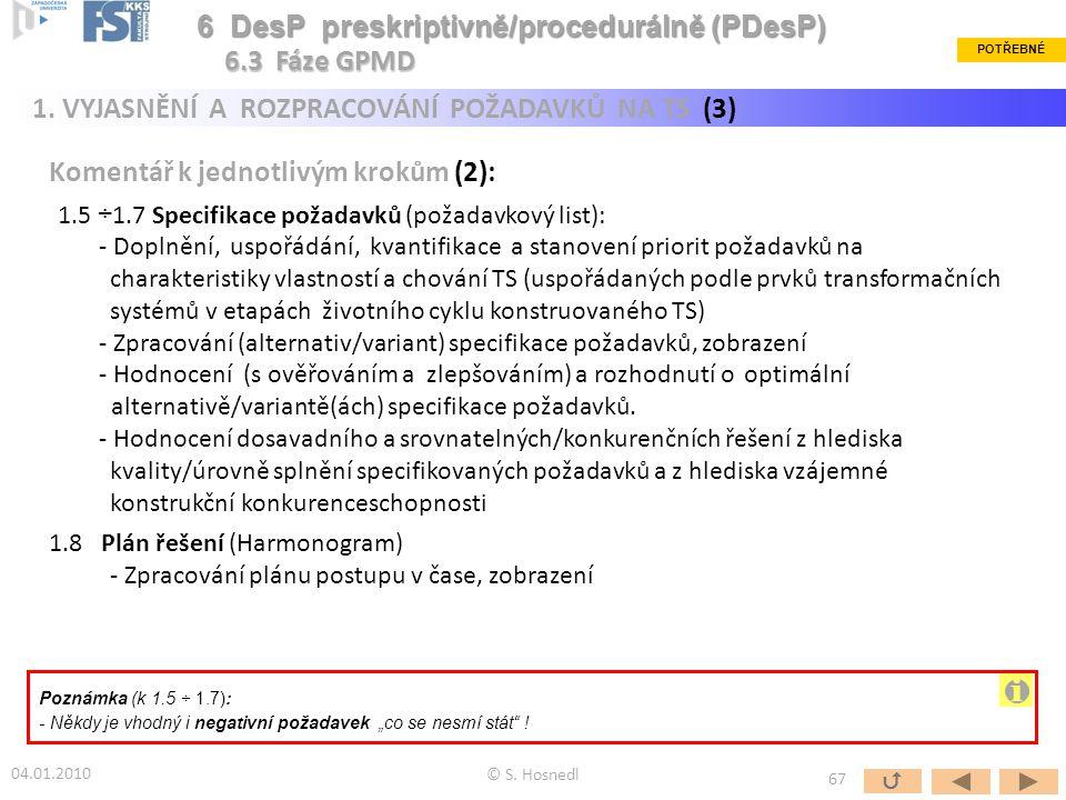 i 6 DesP preskriptivně/procedurálně (PDesP) 6.3 Fáze GPMD