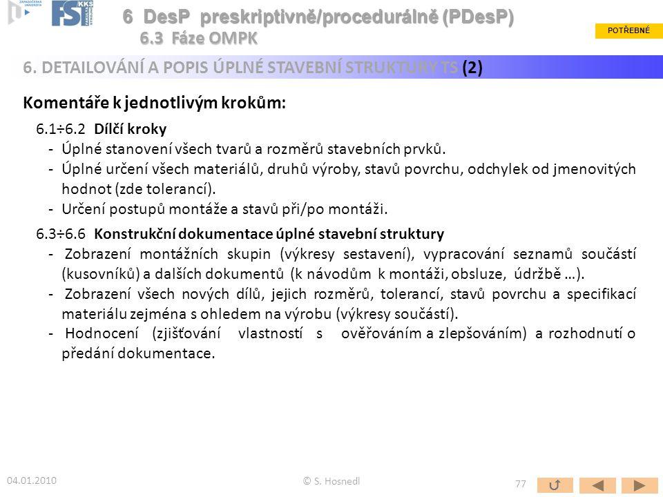 6 DesP preskriptivně/procedurálně (PDesP) 6.3 Fáze OMPK