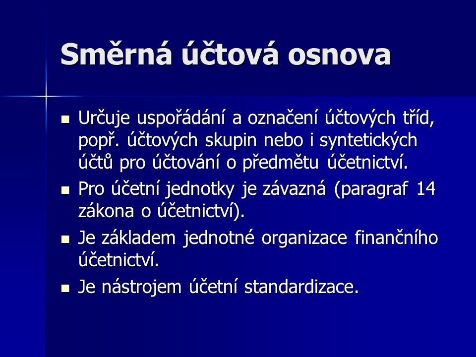 Směrná účtová osnova Určuje uspořádání a označení účtových tříd, popř. účtových skupin nebo i syntetických účtů pro účtování o předmětu účetnictví.