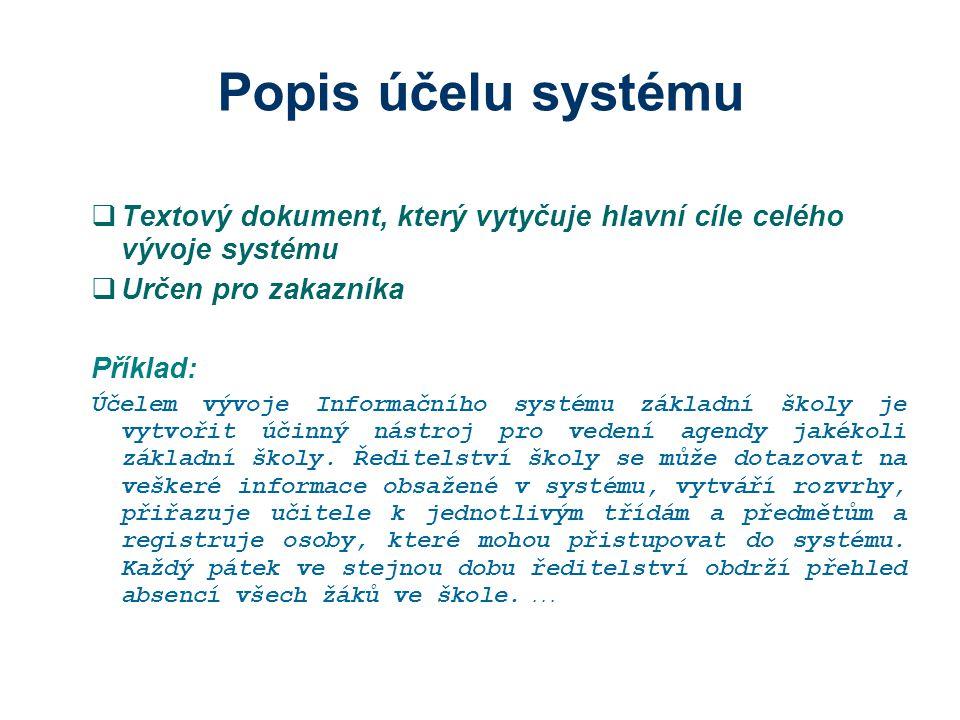 Popis účelu systému Textový dokument, který vytyčuje hlavní cíle celého vývoje systému. Určen pro zakazníka.