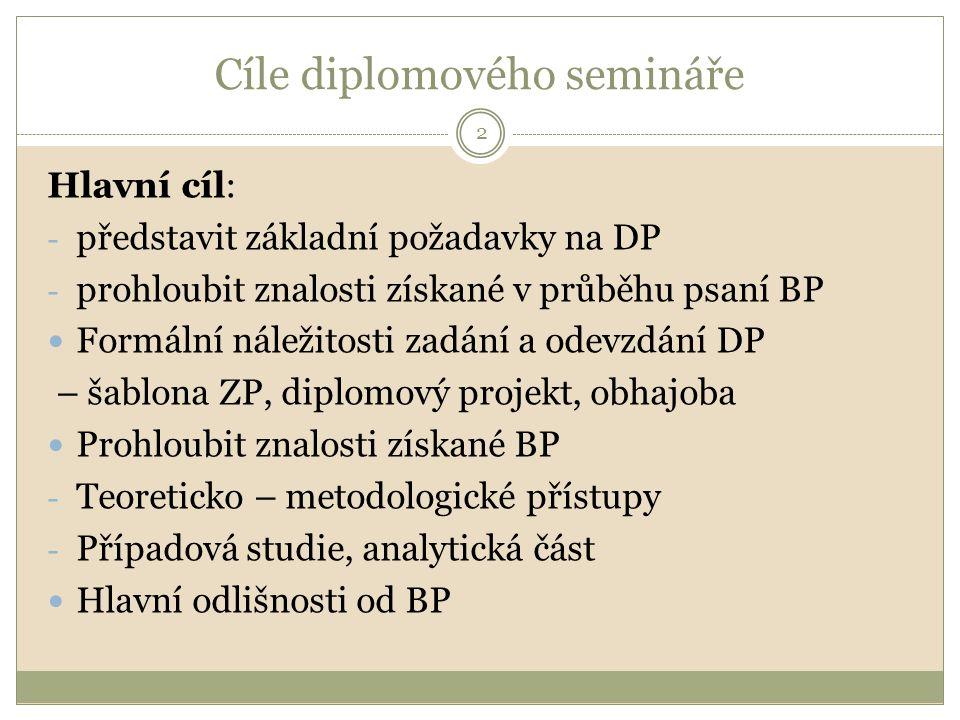 Cíle diplomového semináře