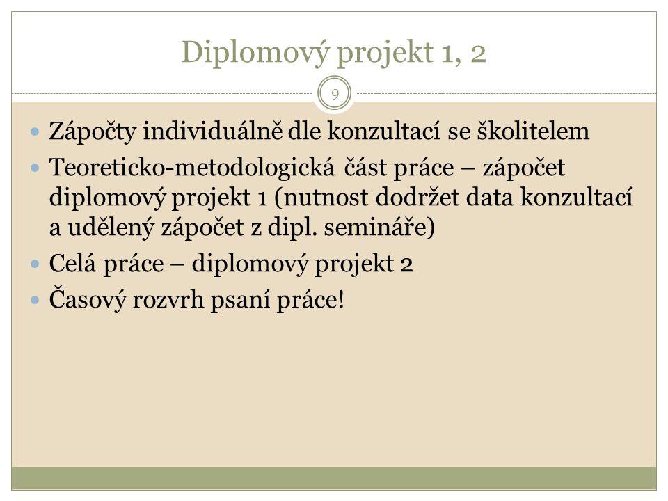 Diplomový projekt 1, 2 Zápočty individuálně dle konzultací se školitelem.