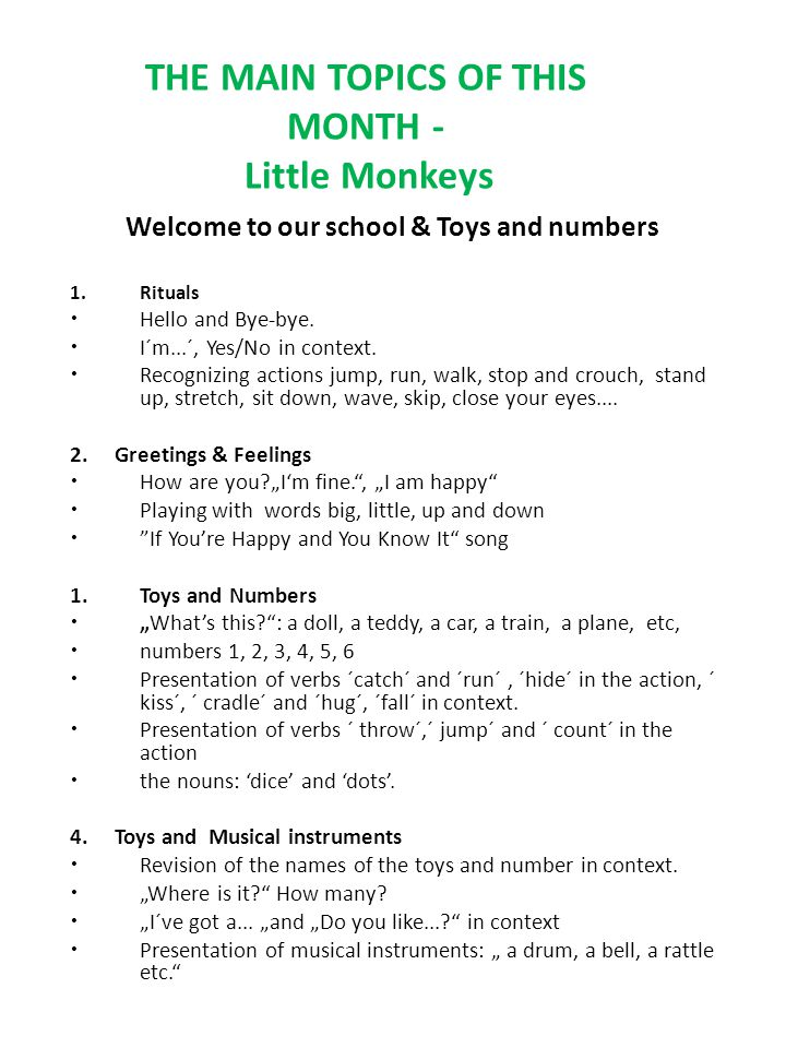 THE MAIN TOPICS OF THIS MONTH - Little Monkeys