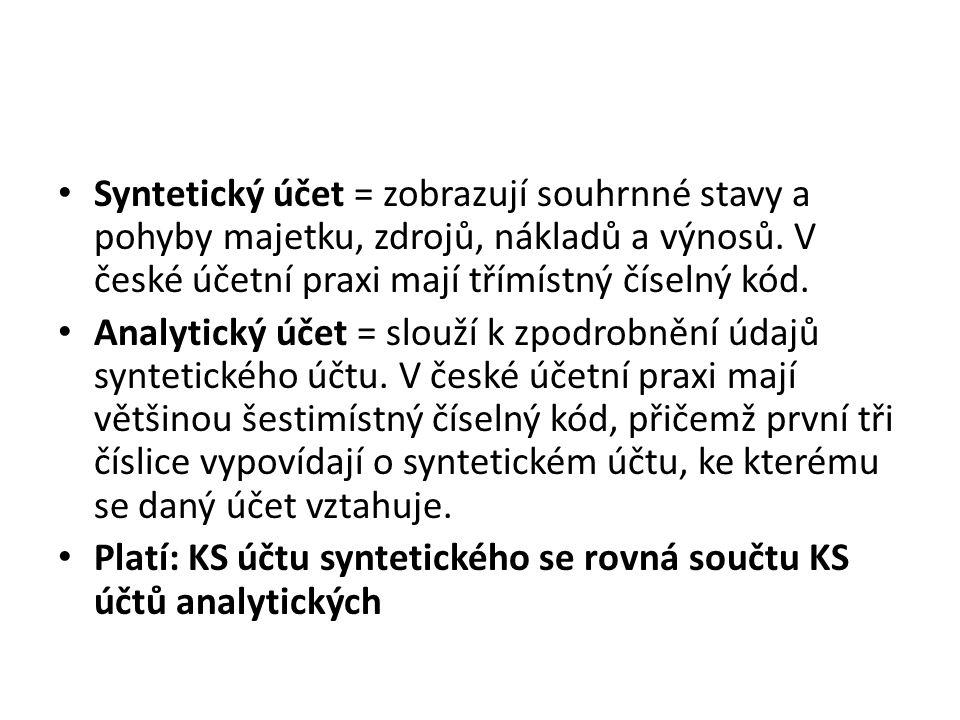 Syntetický účet = zobrazují souhrnné stavy a pohyby majetku, zdrojů, nákladů a výnosů. V české účetní praxi mají třímístný číselný kód.