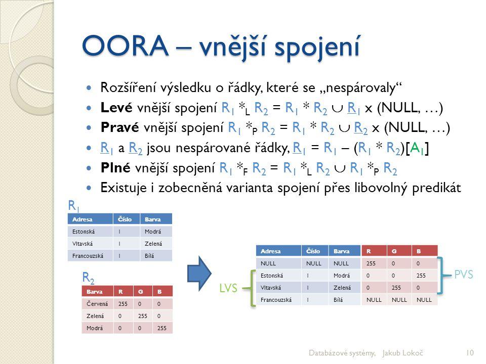 """OORA – vnější spojení Rozšíření výsledku o řádky, které se """"nespárovaly Levé vnější spojení R1 *L R2 = R1 * R2  R1 x (NULL, …)"""