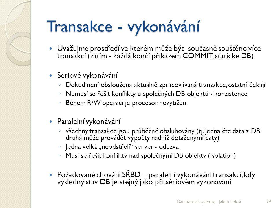 Transakce - vykonávání