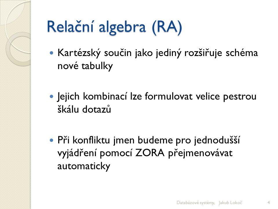 Relační algebra (RA) Kartézský součin jako jediný rozšiřuje schéma nové tabulky. Jejich kombinací lze formulovat velice pestrou škálu dotazů.