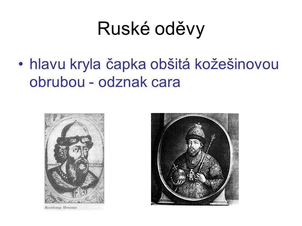Ruské oděvy hlavu kryla čapka obšitá kožešinovou obrubou - odznak cara