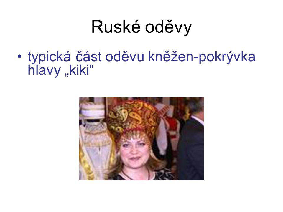 """Ruské oděvy typická část oděvu kněžen-pokrývka hlavy """"kiki"""