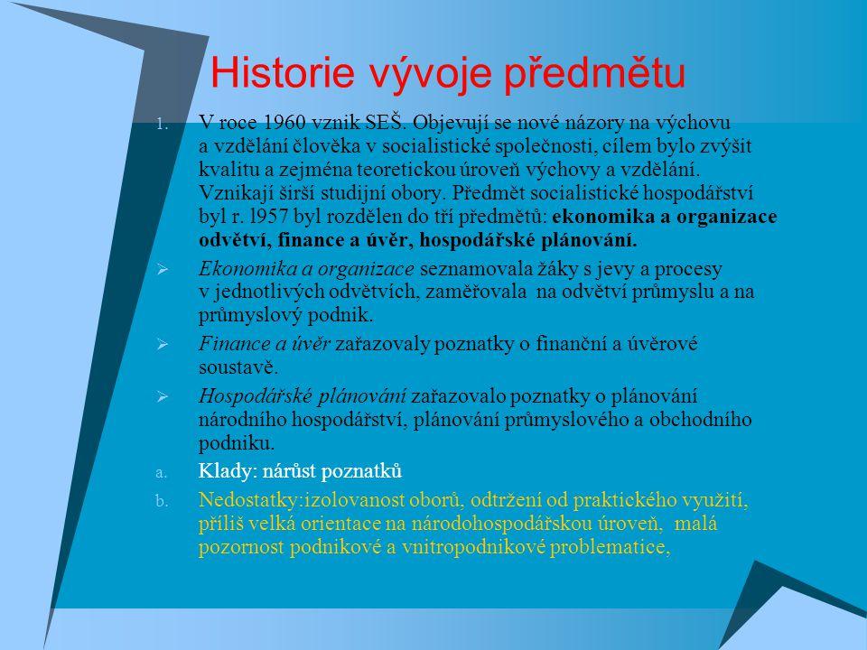 Historie vývoje předmětu