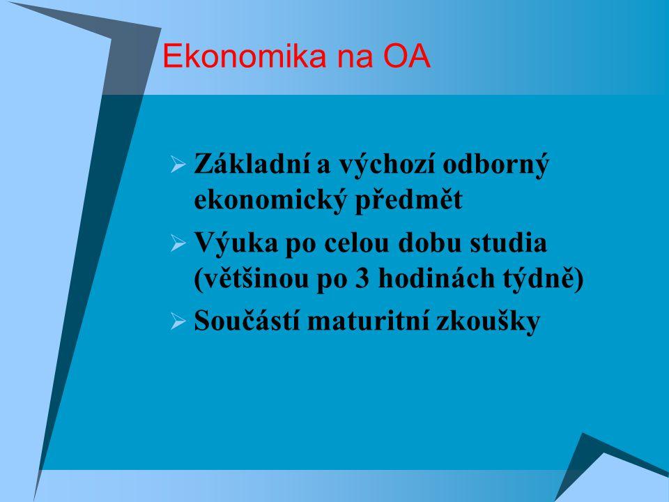Ekonomika na OA Základní a výchozí odborný ekonomický předmět