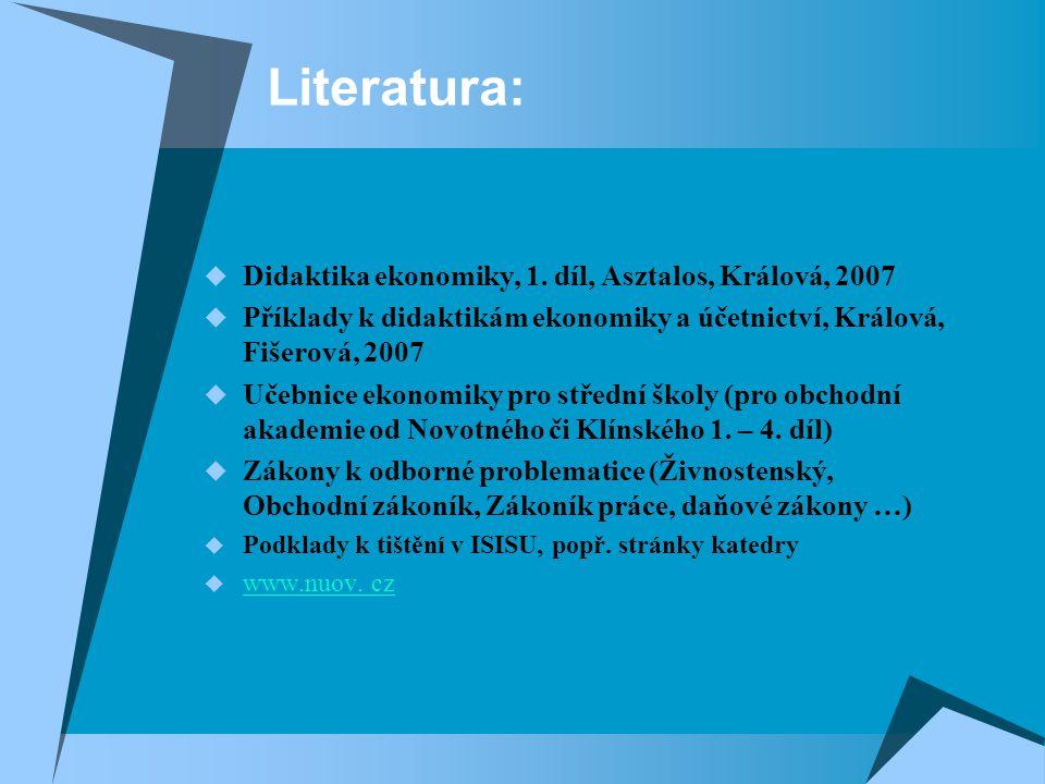 Literatura: Didaktika ekonomiky, 1. díl, Asztalos, Králová, 2007