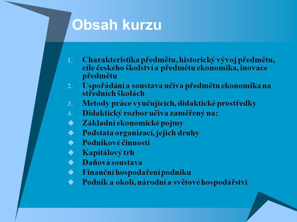 Obsah kurzu Charakteristika předmětu, historický vývoj předmětu, cíle českého školství a předmětu ekonomika, inovace předmětu.