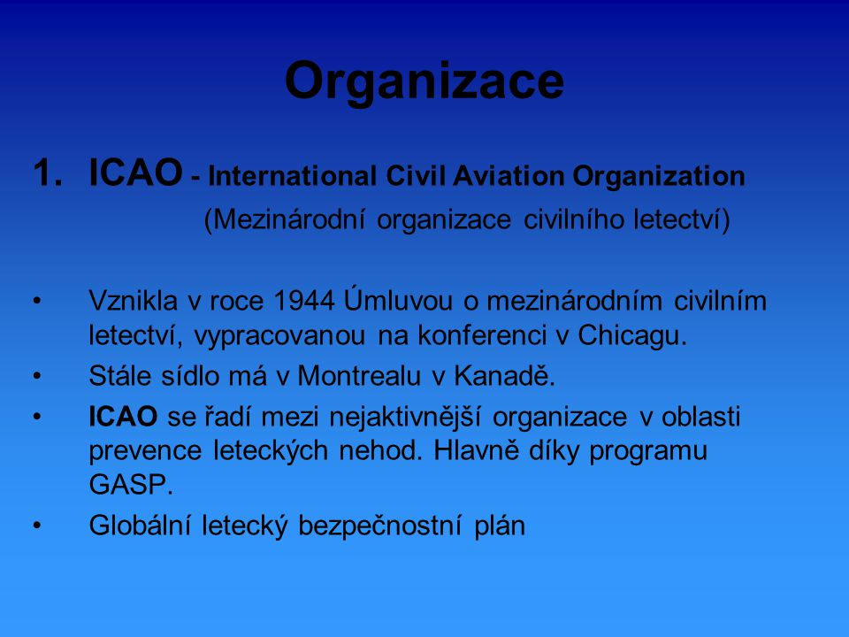 Organizace ICAO - International Civil Aviation Organization