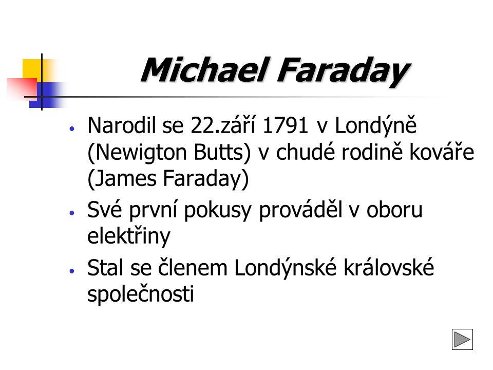 Michael Faraday Narodil se 22.září 1791 v Londýně (Newigton Butts) v chudé rodině kováře (James Faraday)