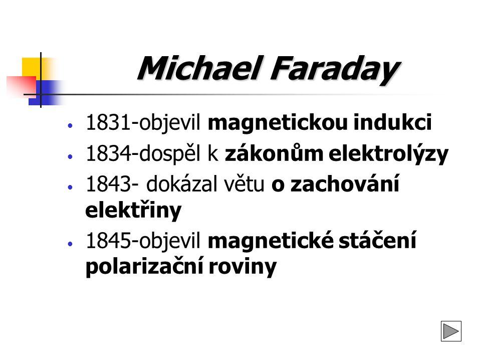 Michael Faraday 1831-objevil magnetickou indukci