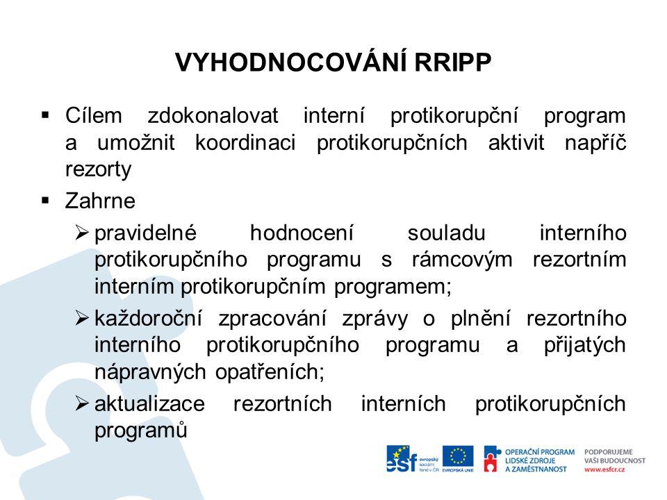 VYHODNOCOVÁNÍ RRIPP Cílem zdokonalovat interní protikorupční program a umožnit koordinaci protikorupčních aktivit napříč rezorty.