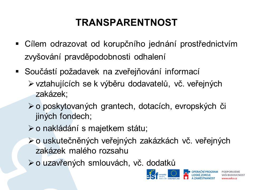 TRANSPARENTNOST Cílem odrazovat od korupčního jednání prostřednictvím zvyšování pravděpodobnosti odhalení.