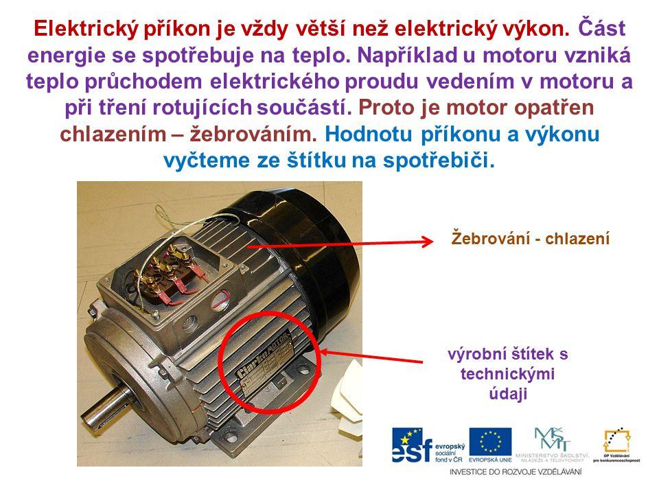 výrobní štítek s technickými údaji