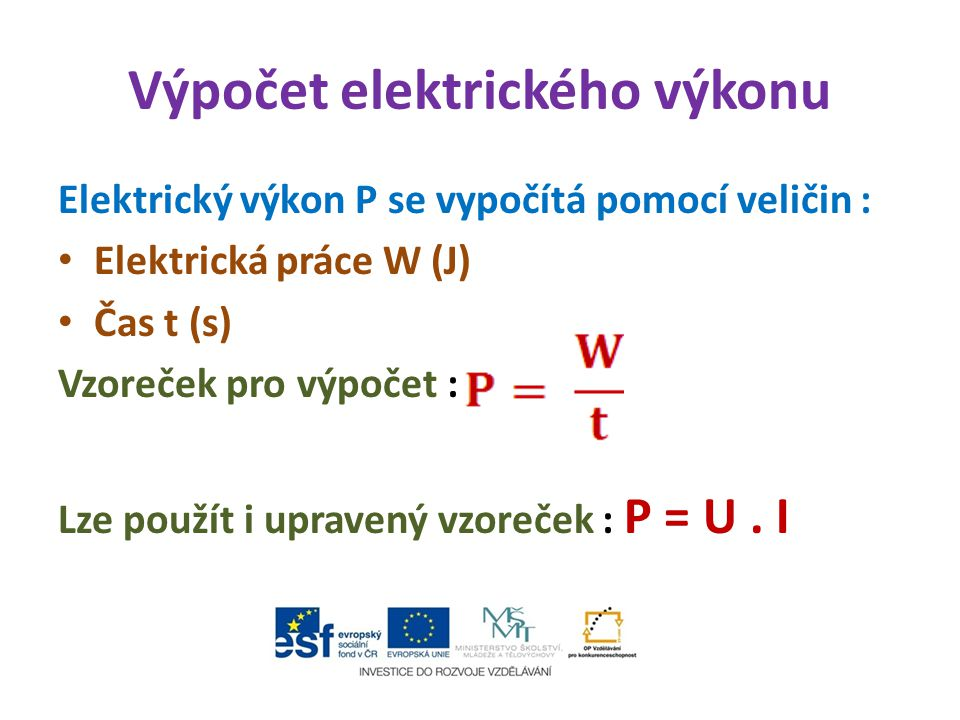 Výpočet elektrického výkonu