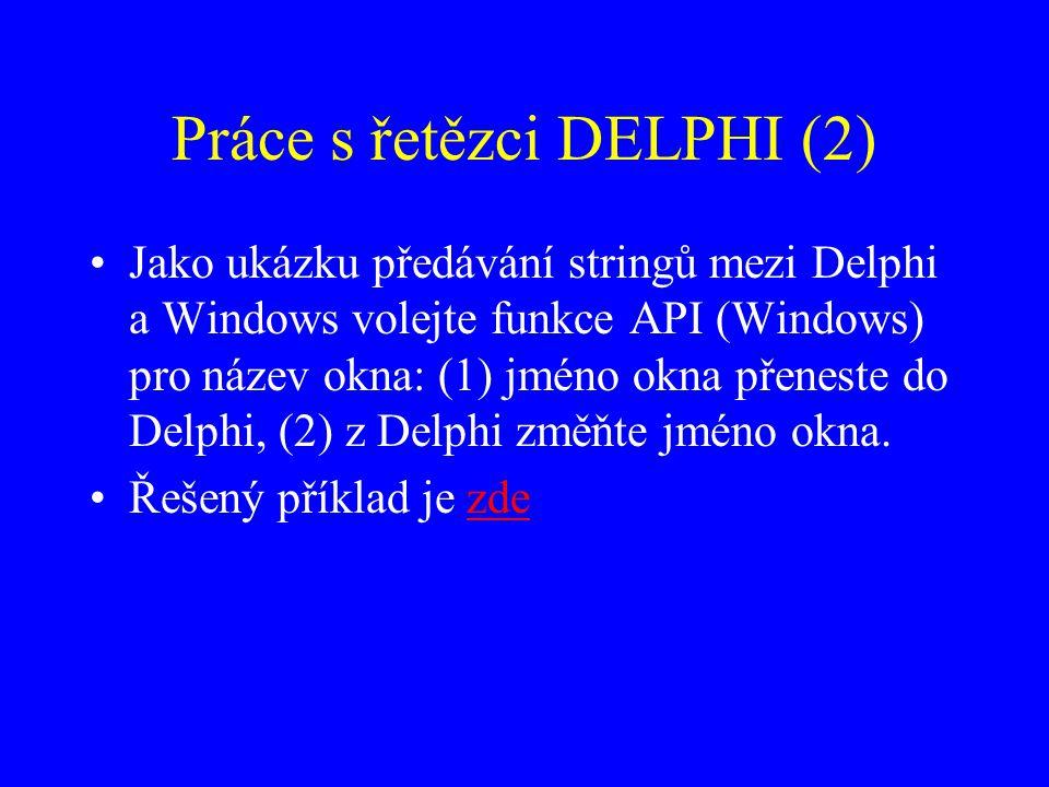 Práce s řetězci DELPHI (2)