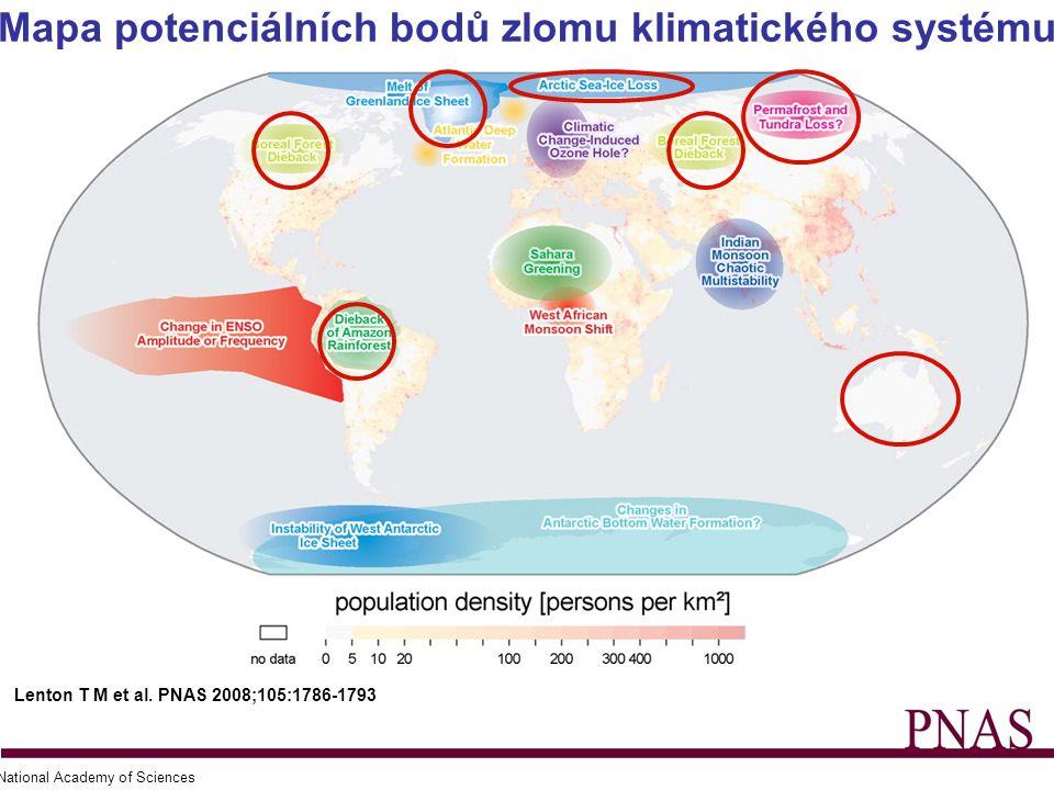 Mapa potenciálních bodů zlomu klimatického systému