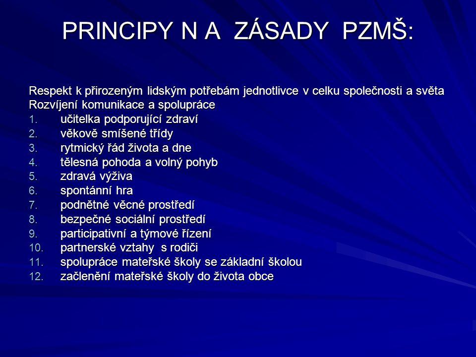 PRINCIPY N A ZÁSADY PZMŠ: