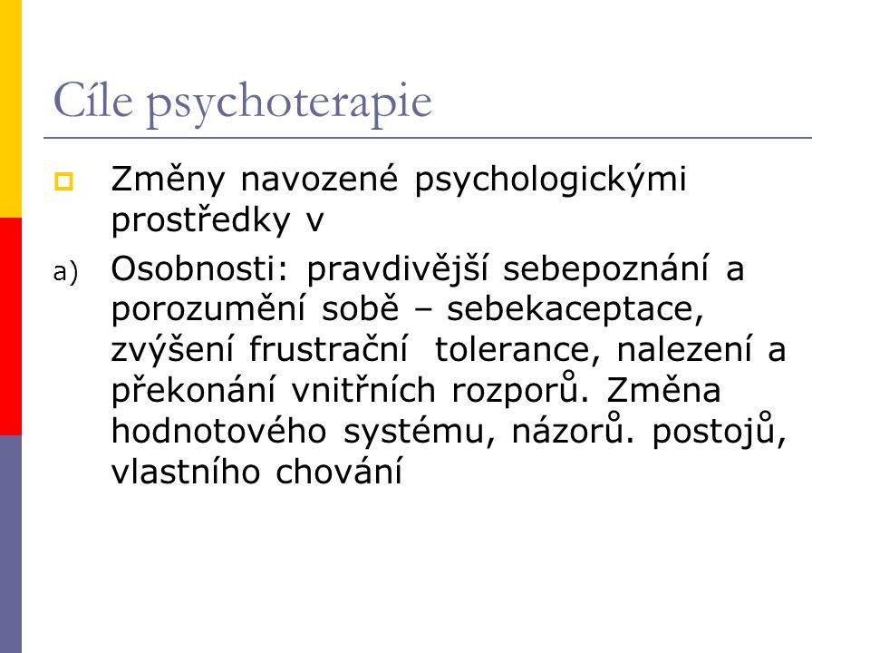 Cíle psychoterapie Změny navozené psychologickými prostředky v