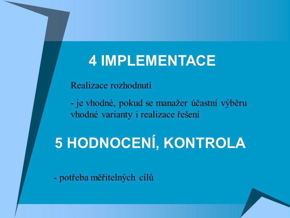 4 IMPLEMENTACE 5 HODNOCENÍ, KONTROLA