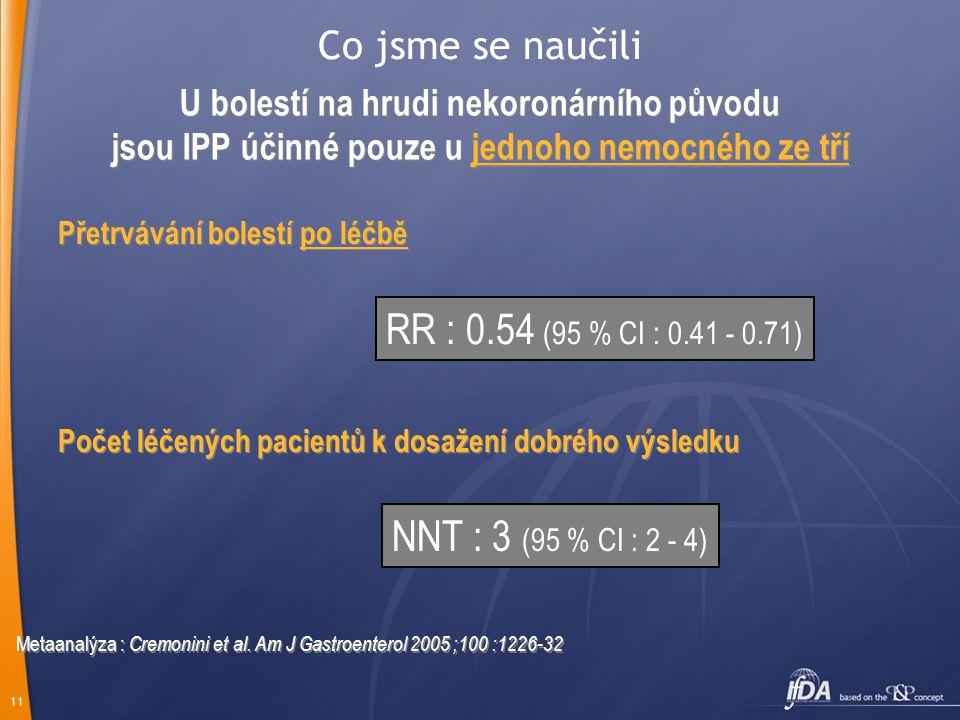 RR : 0.54 (95 % CI : 0.41 - 0.71) NNT : 3 (95 % CI : 2 - 4)