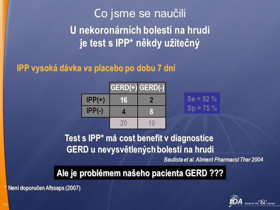 Co jsme se naučili U nekoronárních bolestí na hrudi je test s IPP* někdy užitečný. IPP vysoká dávka vs placebo po dobu 7 dní.