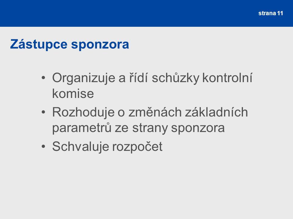 Zástupce sponzora Organizuje a řídí schůzky kontrolní komise. Rozhoduje o změnách základních parametrů ze strany sponzora.