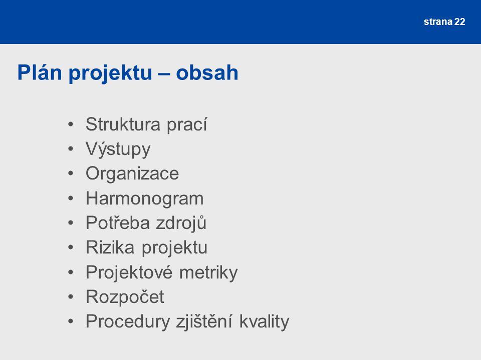 Plán projektu – obsah Struktura prací Výstupy Organizace Harmonogram