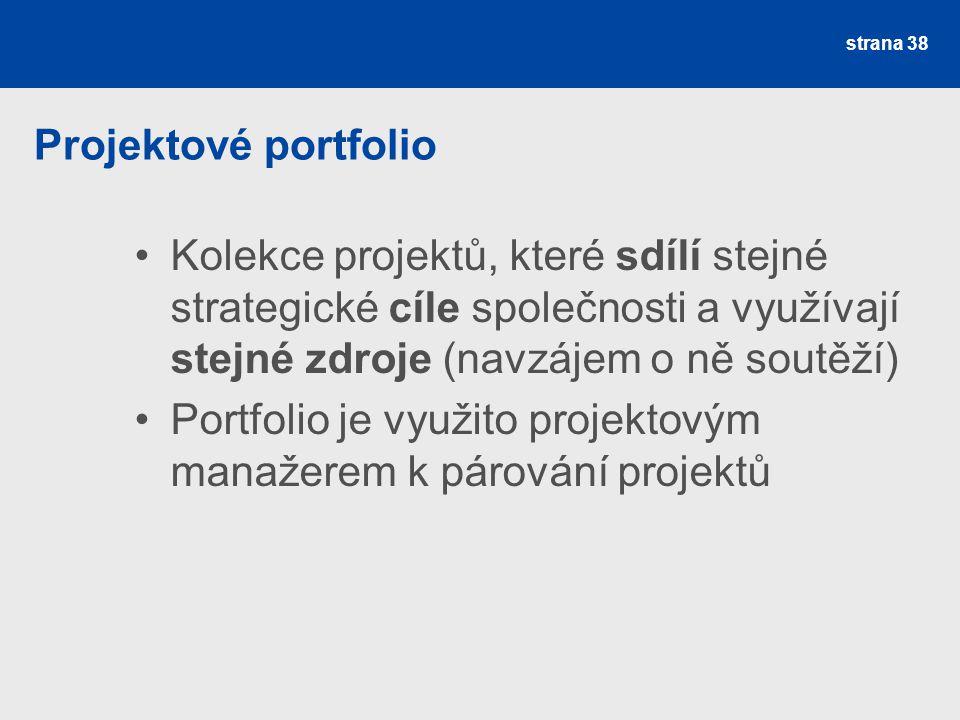Projektové portfolio Kolekce projektů, které sdílí stejné strategické cíle společnosti a využívají stejné zdroje (navzájem o ně soutěží)