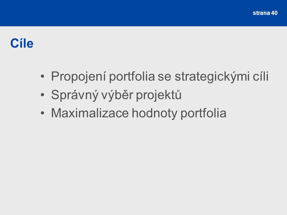 Cíle Propojení portfolia se strategickými cíli. Správný výběr projektů.
