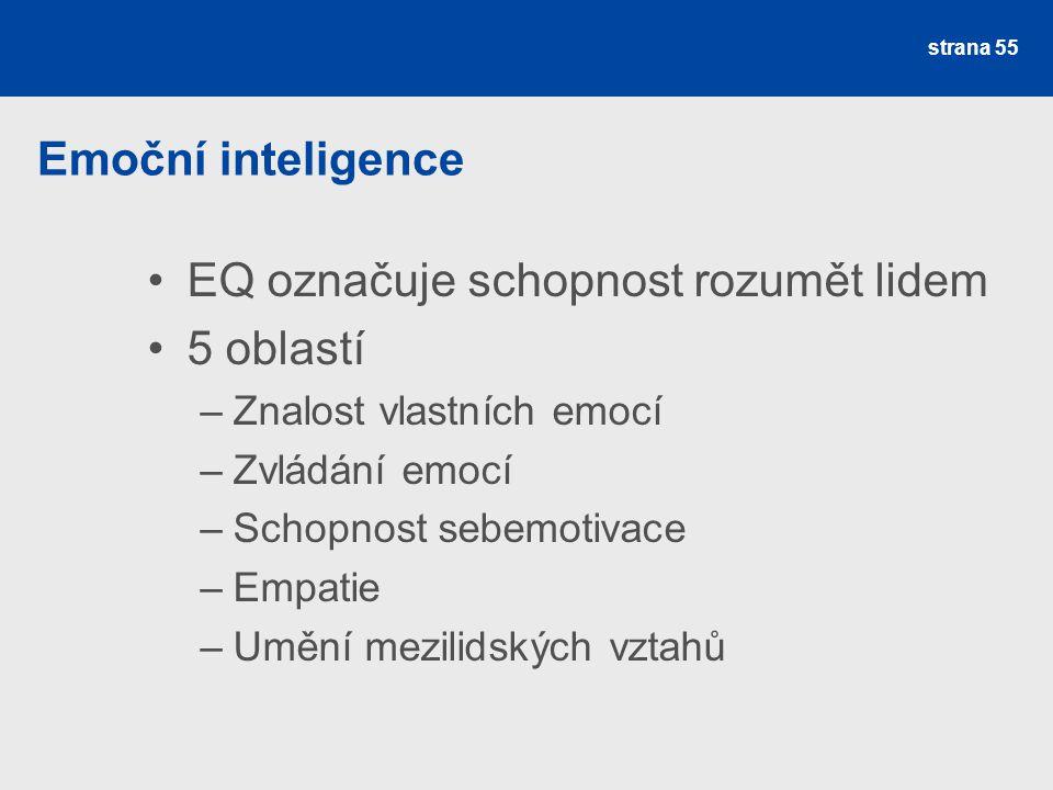 EQ označuje schopnost rozumět lidem 5 oblastí